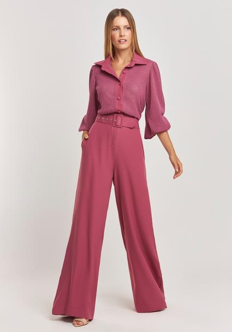 Macacão Pantalona Blusa Tricot - Rosa