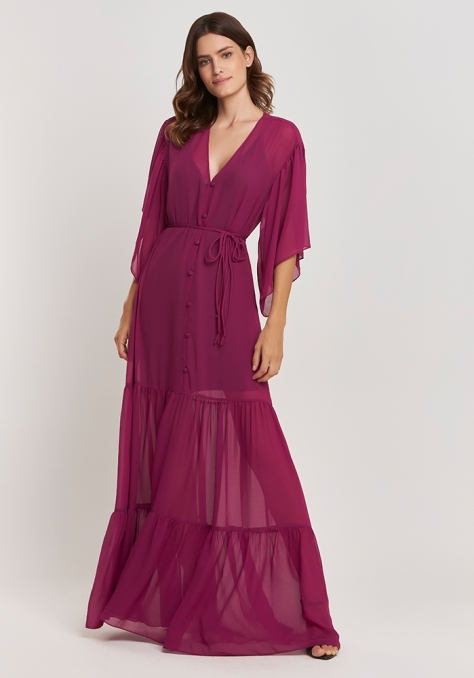 Vestido Longo Georgette Transparência - Rosa Fúcsia