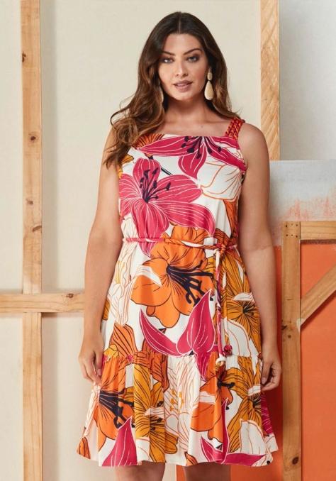 Vestido c/ Cadarços Trançados Bicolor - My Size