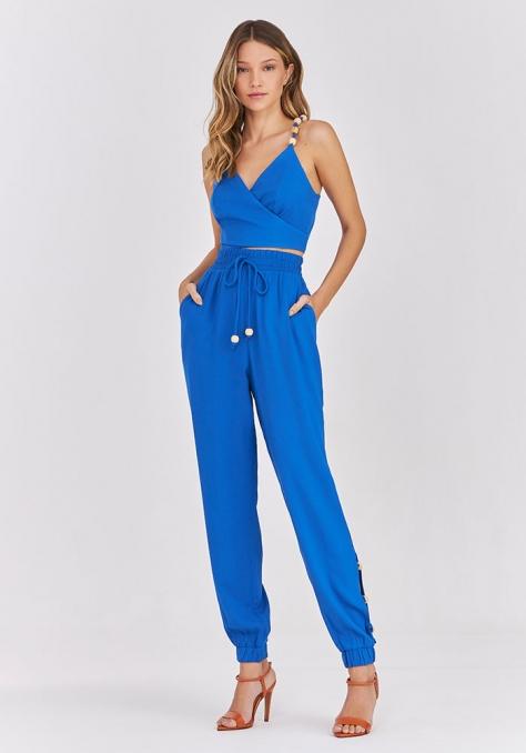Conjunto Top Cropped Calça Jogging - Azul