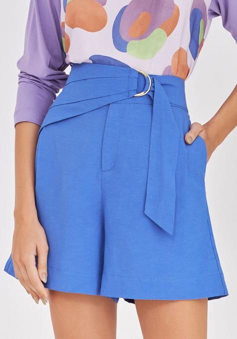 Short Linho Pala Sobreposta - Azul