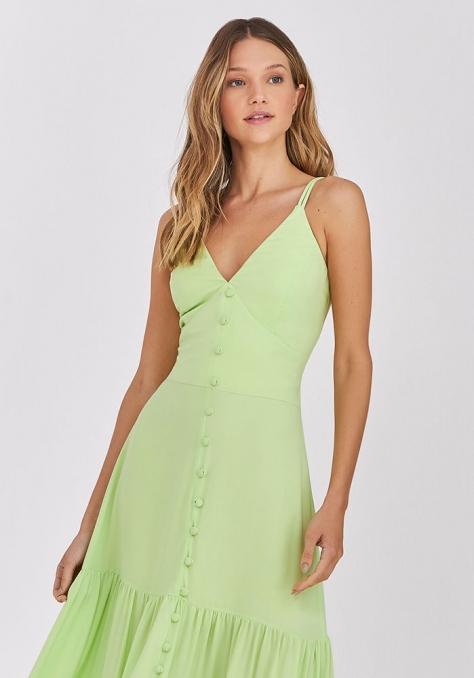 Vestido Longo Saia Recortes Detalhe Botão - Verde Lima