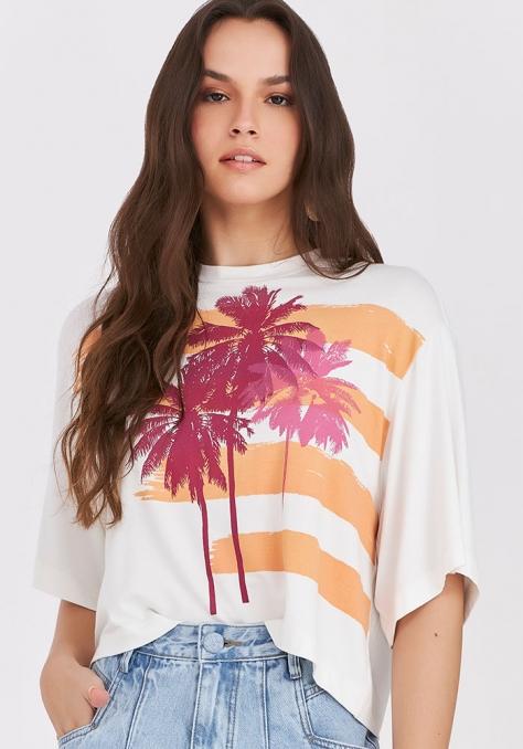 T-Shirt Cropped com Silk