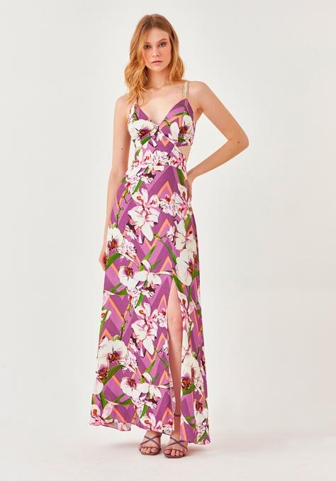 Vestido Longo Estampado - Orquídea