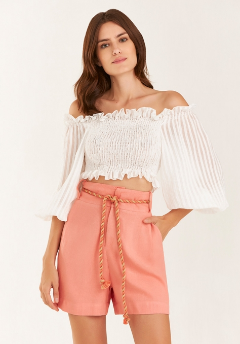 Top Cropped com Lastex - Off White