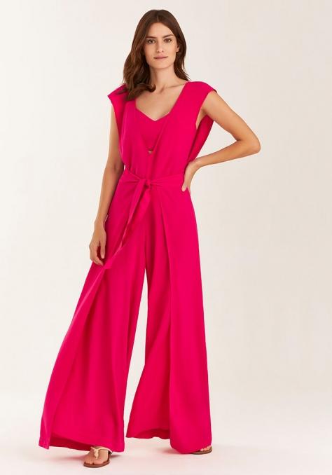 Macacão Salopete Lisa - Pink Pink
