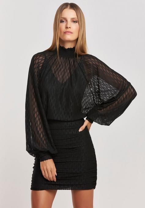Vestido Tule Saia Drapeada - Preto
