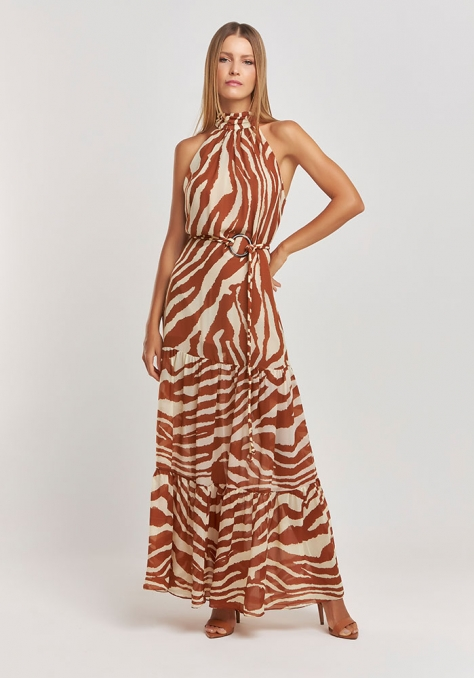 Vestido Longo Estampado c/ Transparência - Sttiped Dye