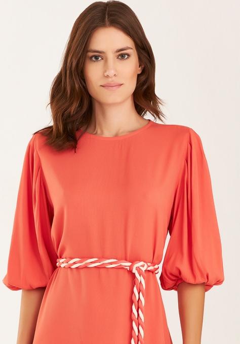 Vestido T-Shirt c/ Cinto Bicolor - Astral